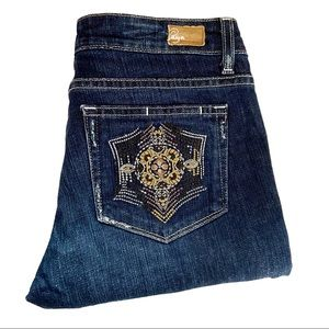 Paige Melrose Straight Leg embroidered pocket jean